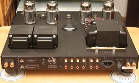4 entrances, 2 outputs, multiple speaker wire and separated power socket are behind of Cronus Magnum KT120 amplifier.