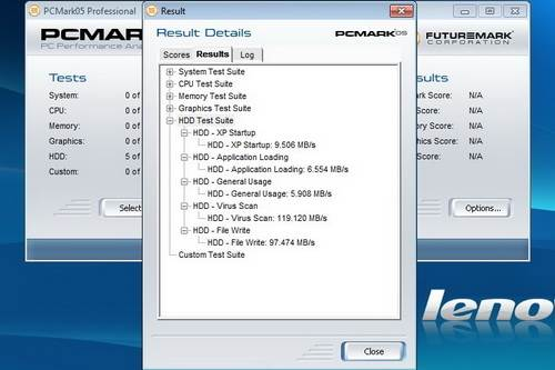 Similarly, PCMark 05 gave the model speeds of 6.55MBps (executing app), 119.12MBps (scanning virus) and 9.5MBps (booting emulated Windows XP)