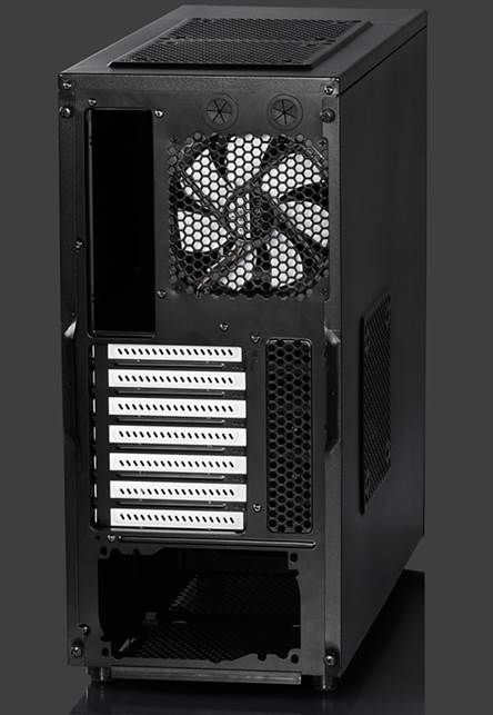 Fractal Design bundles the case with three of its cooling fans: a rear 120mm exhaust, a roof 140mm exhaust and a front 140mm intake