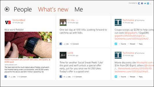 The Windows 8's People application is not only an address book. It shows every social update of yours in one place.