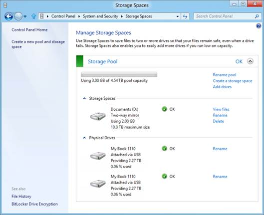 Storage Spaces for Windows 8