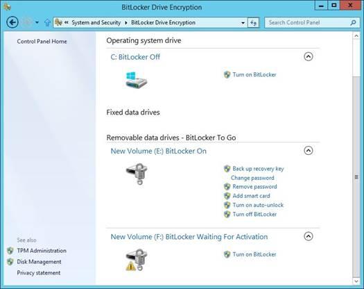 Windows 8 BitLocker status codes