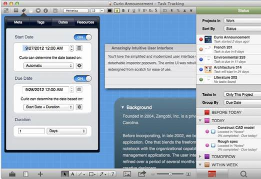 Curio supports lots of different meta data so you can instantly find what you needs and sync all your tasks with your Mac OS X Calendar