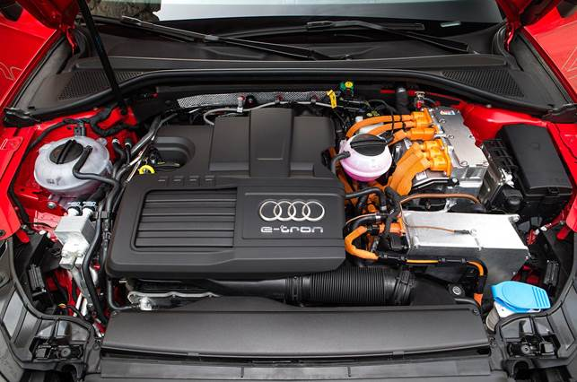 The A3 e-tron is powered by a 148bhp 1.4-litre TFSI petrol engine and a 99bhp electric motor
