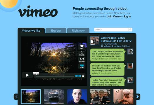 Vimeo is a U.S. based video sharing website on which users can upload, share and view videos.
