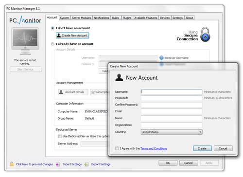 When you start PC Monitor Manager running for the first time, it will prompt you to create a new account.