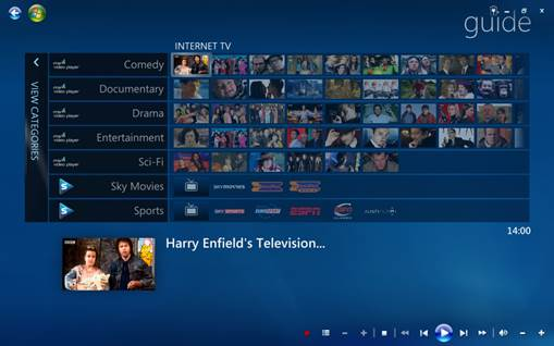 The Tuner Free MCE add-on for Windows Media Center has live andcatch-upTV