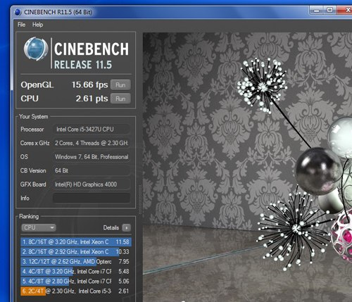 Scores in the CineBench 11.5