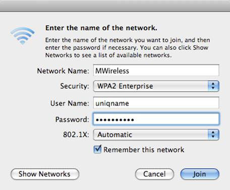 Click the drop down menu next to Security and select WPA2 Enterprise.
