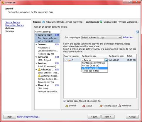 You can now choose which of your drives and partitions should be included in the virtual machine