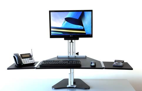 Ergo Desktop's Kangaroo desk stands, for example, sit on top of standard-sized office desk and raise your monitor and keyboard to standing height