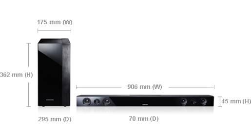 Dimensions (main unit): 906x45x70mm (W x H x D), Dimensions (subwoofer): 175x362x295mm (W x H x D)