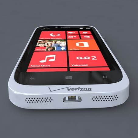 Along the Lumia 822's bottom, a micro-USB port is located between the speaker and main microphone.