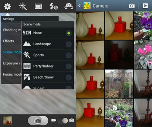 The camera apps offers lots of different capture modes.