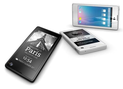 YotaPhone has a 4.3in, 1,280 by 720-pixel touchscreen at the front and a 4.3in E-Ink display on the back