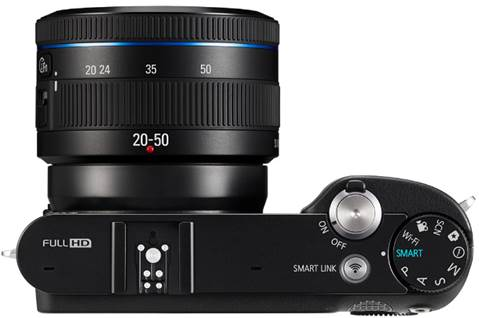 The Samsung NX1000 debuts a new 20-50mm lens, which like Samsung's other small lenses, retracts inside the zoom barrel to make a smaller package, and must be deployed before shooting.