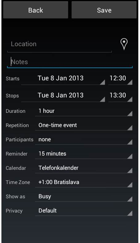 You can enter detailed notes and points regarding your events, and set reminders