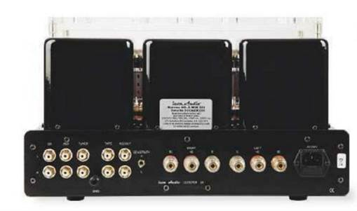 Three line level inputs and a tape loop, plus outputs for 4 or 8ohm loudspeakers. The small switch near the center sets the overall gain to either high or low by altering the feedback