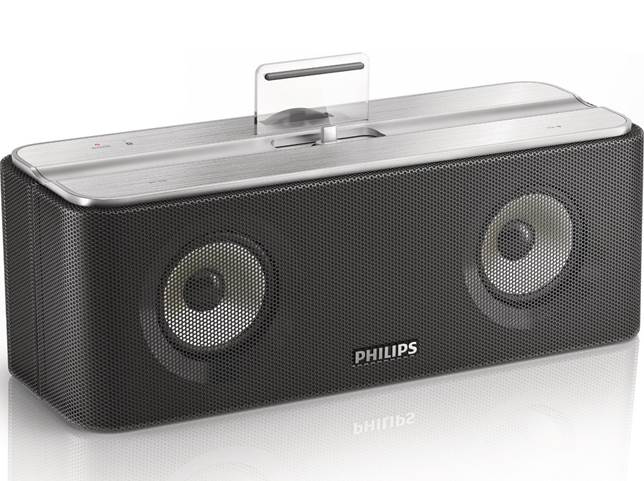 Description: The AS860 also comes with Philips' FlexiDock so that any Android device can fit onto the wireless speaker
