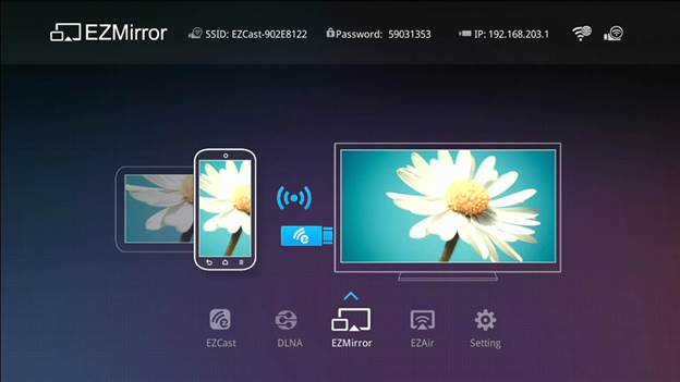 The Miracast button displays the EZMirror screen