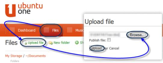 How to upload file in the Ubuntu One cloud