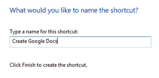 Name the shortcut that you're going to create