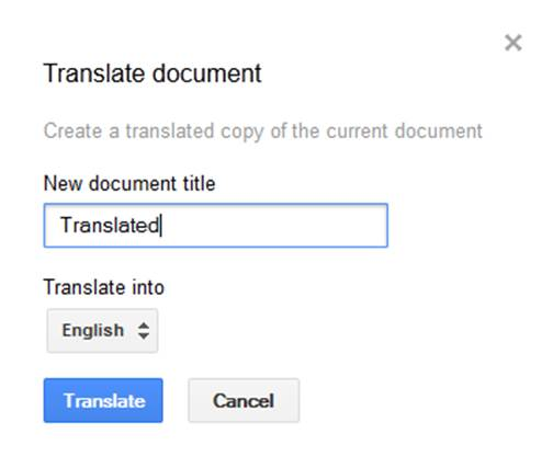 Google translate system in Google Docs
