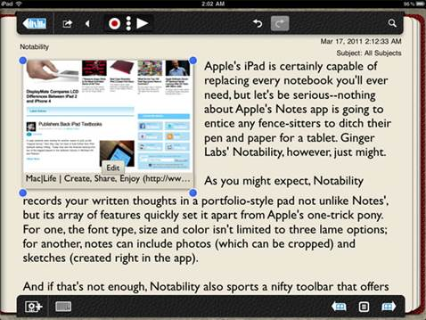 Notability may be the best note-creating app we can see iPad