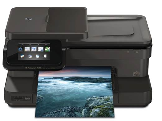 Photosmart 7520 e-All-in-One is packed with useful extra features, including a 25-page automatic document feeder (ADF) and even a fax modem, in case you urgently need to get in touch with the 1980s