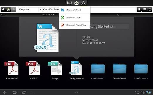 Your files are stored in the cloud, with CloudOn hooking into Google Drive, Dropbox, Box.net and SkyDrive.