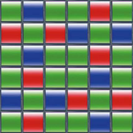 The Fujifilm of X-Trans CMOS sensor's 6x6 color filter array pattern
