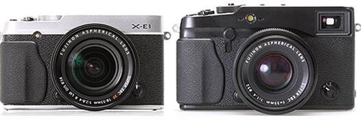 The front, the most obvious difference in design between the X-E1 and its big brother the X-Pro1 is the lack of optical viewfinder and its associated searching mode switch. The AF illuminating light moves closer to the handle, and the stereo microphones move onto the top plate.