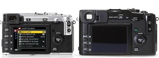 From the rear, the two cameras are very similar. The Playback button moves to the left edge of the screen and there is a small flash release button next to the EVF, but otherwise it has the similar layout. A notable addition, though, is a diopter adjustment swivel for the viewfinder, which has its adjusted range from -4 to +2.