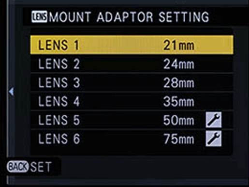 The X-E1 has a menu option to set the focal length of the lens you are using. This used to be filled in the EXIF data. The camera offers four presets corresponding to the most popular film wide angles - 21mm, 24mm, 28mm and 35mm and two more distant lens memories, which can be set freely (with 50mm and 75mm available by default)