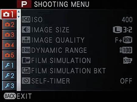Shooting menu