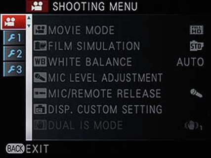 Movie mode shooting menu
