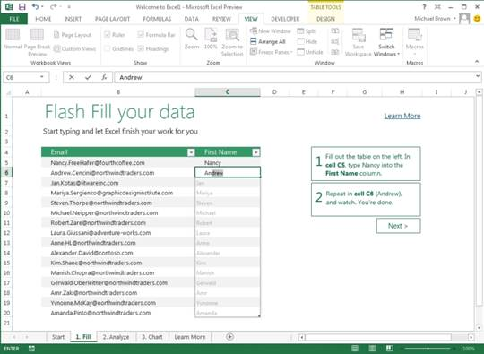 Excel Flash Fill can detect patterns and autofills empty cells as appropriate