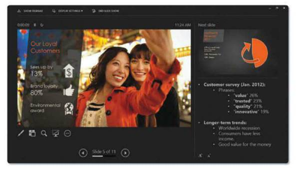Powerpoint Presenter View makes it easier to access notes and preview the next line