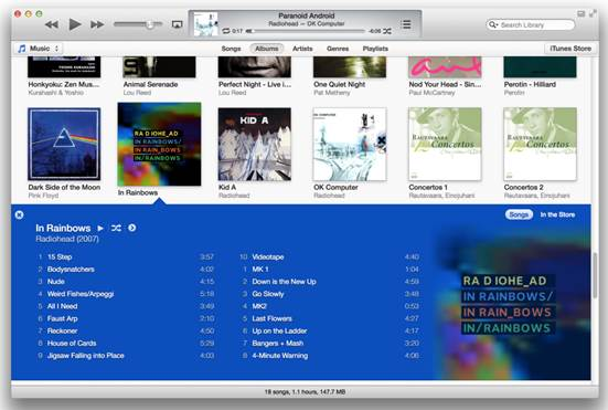 Albums view, which is the new default view in iTunes 11, resembles iTunes 10's Grid view in most respects