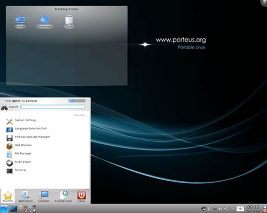 Porteus offers you an option of KDE and LXDE desktop
