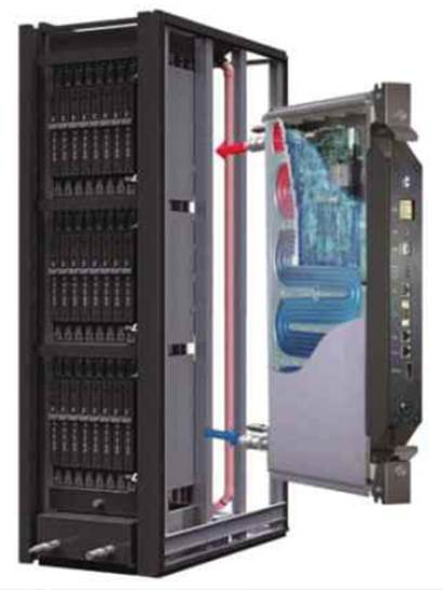 The Iceotope system uses server modules that can be easily fitted into the rack