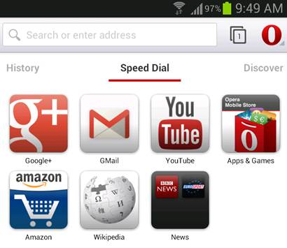 Opera's unique Speed Dial feature saves you time by displaying your favorites, bookmarks and saved web pages for your pleasure.
