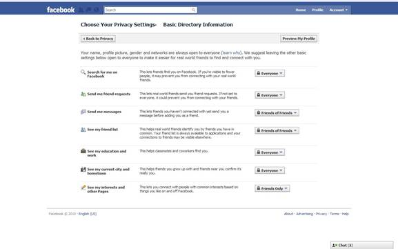 The Privacy Settings page lets you determine who can see your future posts and allows you to revise posts you're tagged via the Activity Log page