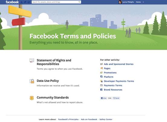 Facebook's Terms and Policies page keeps you up to date with everything privacy-related