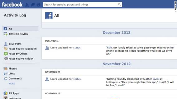 Visit your Facebook Activity Log page to discover ways to deal with unwanted entries