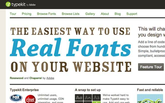 For professional use, the Typekit service, which was acquired Adobe in 2011, provides a wider range of fonts