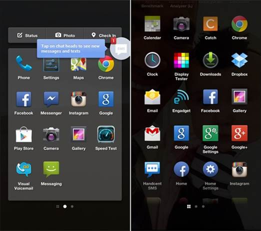 App launcher is a series of panels, each of which consists of a 4x4 grid of application icons in a small Holo-themed box.