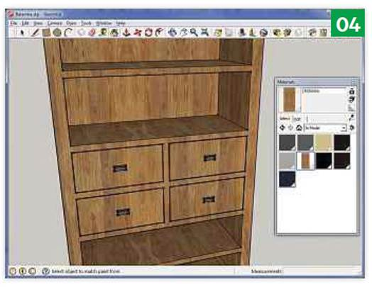 . Click on a material and the Paint Bucket tool is selected, ready to apply to your model.
