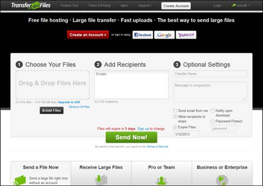 TransferBigFiles is a goof free web service, but it has its limitations