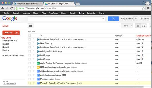 The Google Drive service is a combination of Google's online office software
